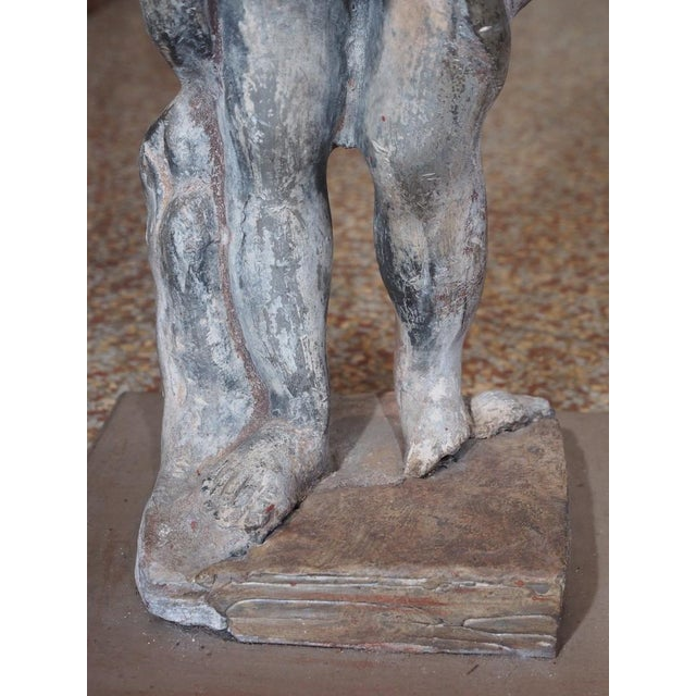 Metal 19th Century French Lead Statue of a Young Girl For Sale - Image 7 of 7