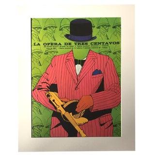 "1970's Vintage ""La Opera De Tres Centavos"" Cuban Theater Poster by Dugald Stermer For Sale"
