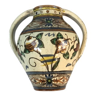 Antique Italian Majolica Hand Painted Urn Vessel For Sale