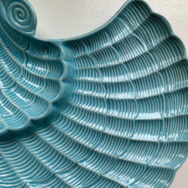 Boho Chic Modern Vintage Sadek by Andrea Blue & Antique White Ceramic Oyster Shell Serving Platter For Sale - Image 3 of 9