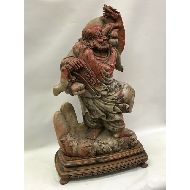 Asian Chinese Art Carved Soapstone Monk With Wood Stand For Sale - Image 3 of 10