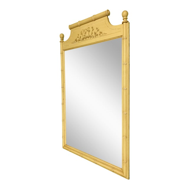Vintage Yellow Bamboo-Style Mirror - Image 1 of 3