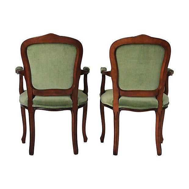 Upholstered Green Fauteuils - Pair - Image 4 of 10