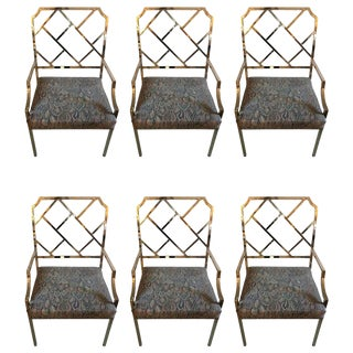 DIA Chippendale Style Modern Chrome Dining Chairs - Set of 6 For Sale