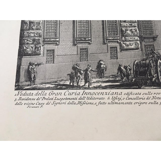 """Veduta Della Gran Curia Innocenziana"" Antique Architectural Lithograph After Piranesi For Sale - Image 4 of 7"