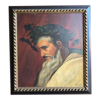 """Head of Bacchus"" Oil Painting by Ignacio Beller For Sale"