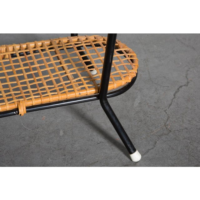 Pill Shaped Bamboo & Metal Side Table - Image 8 of 8