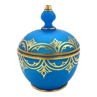 20th Century Blue and Gold Glass Vessel For Sale