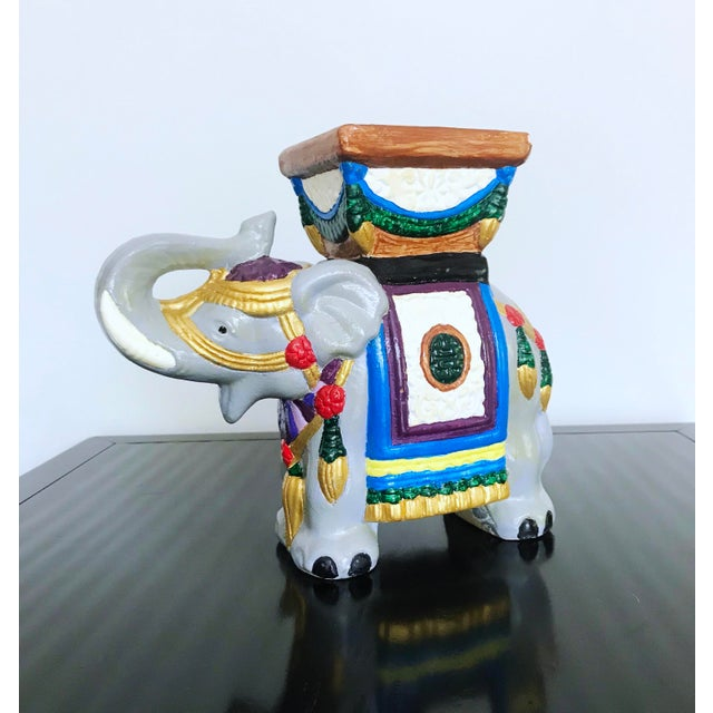 Vintage 1960's Hand-Painted Ceramic Elephant Planter For Sale - Image 13 of 13