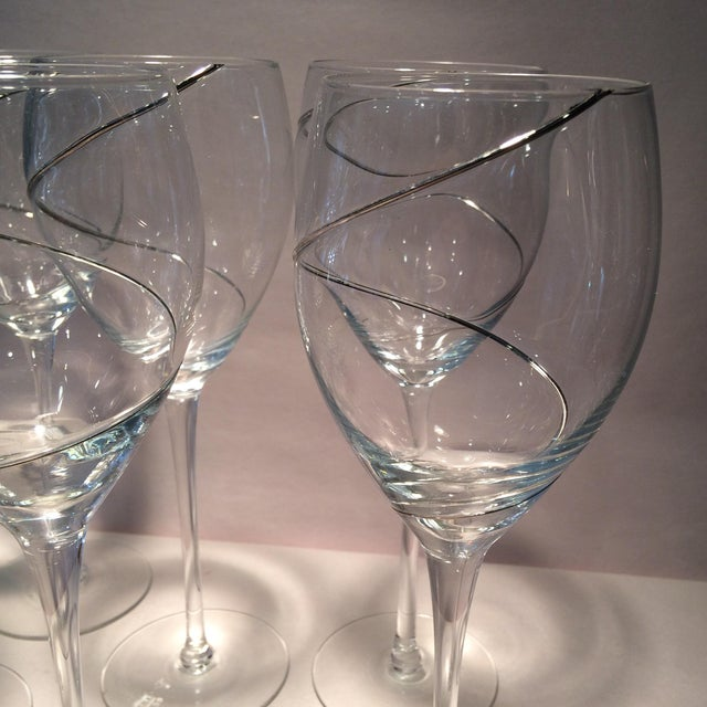 Vintage Silver Swirl Crystal Glasses - Set of 6 For Sale - Image 10 of 11