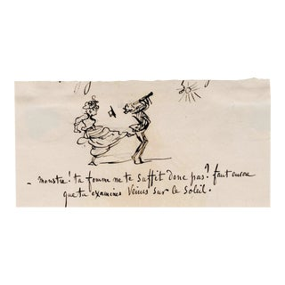 19th Century Miniature Satirical French Caricature by Charles Amedee De Noe (Cham) For Sale