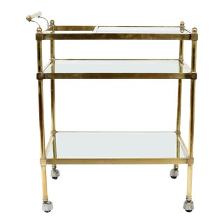 Vintage Bras Glass Three Tiered Bar Cart For Sale