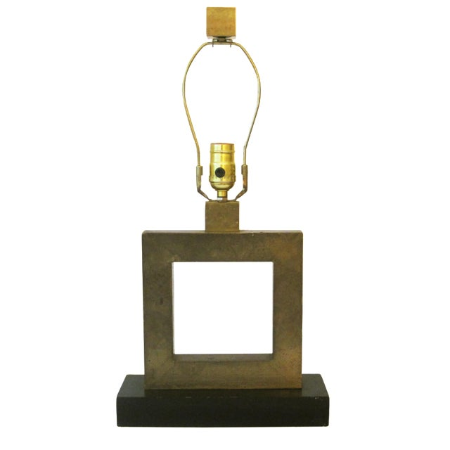 Robert Abbey Square Brass Lamp For Sale