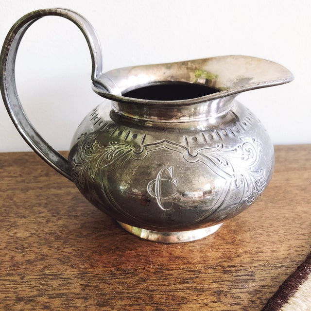English Antique Sheffield Engraved Silver Creamer Pitcher by Cooper Brothers & Sons For Sale - Image 3 of 6