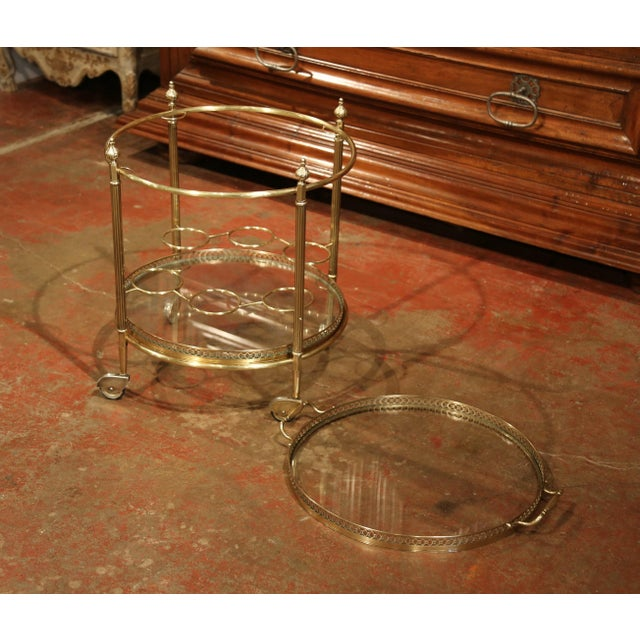 Early 20th Century French Two-Tier Brass Desert Table or Tea Cart on Wheels - Image 6 of 9