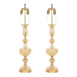 Barovier Gold Dust Inclusion Murano Glass Lamps - a Pair For Sale