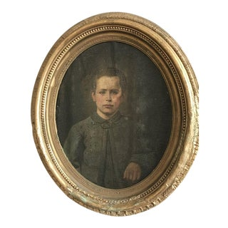 1865 Antique Civil War Era Portrait Painting For Sale