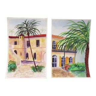 Mediterranean Homes Watercolor Paintings - a Pair For Sale