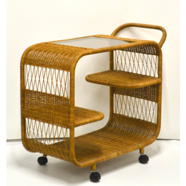 1960s Mid-Century Woven Rattan Bar Cart For Sale - Image 4 of 12