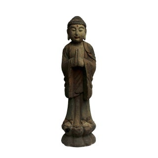 Chinese Rustic Wood Standing Buddha Statue For Sale