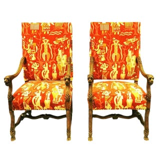 19th C. Italian Arm Chairs In Custom Tailored Clarence House Cut Velvet Monkey Fabric - A Pair For Sale