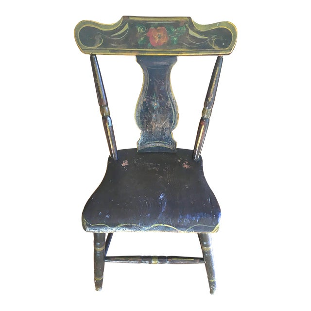 Antique Hand-Painted Early American Side Chair - Image 1 of 3