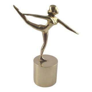 1980s Vintage Brass Dolbi Cashier Nude Woman Dancing Sculpture For Sale