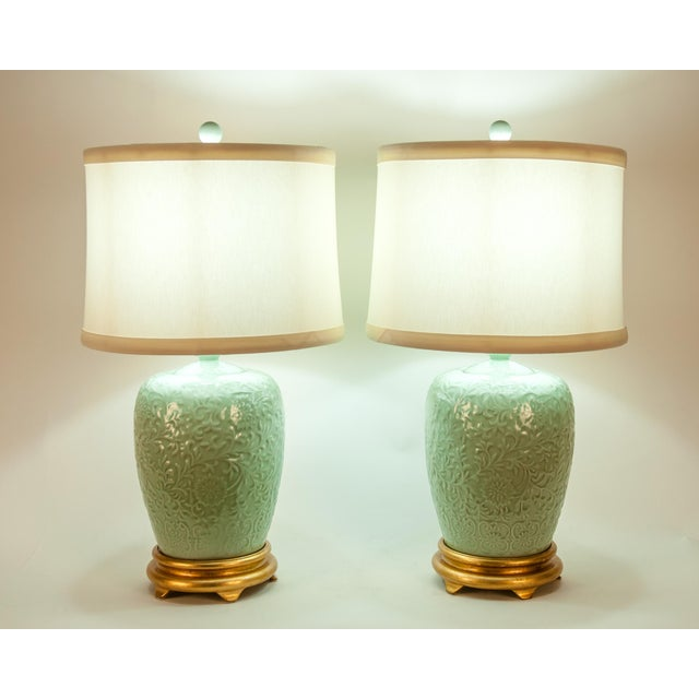 Mid Century Porcelain Lamp / Gilded Wooden Base - a Pair For Sale - Image 12 of 13