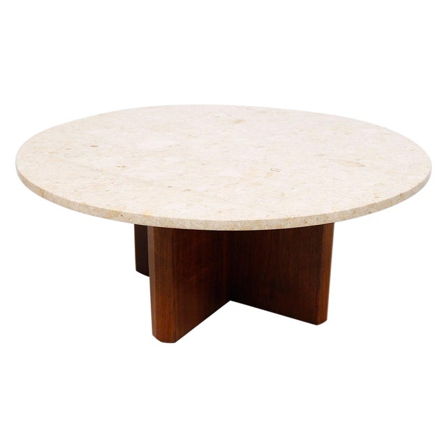 """Travertine Marble Top Coffee Table with """"X"""" Base - Image 1 of 9"""