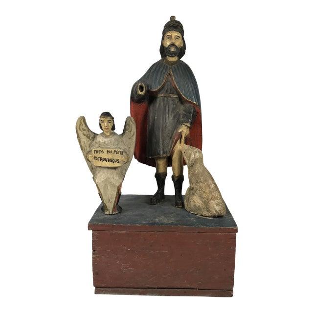 19th C. Carved Saint Roch Sculpture For Sale
