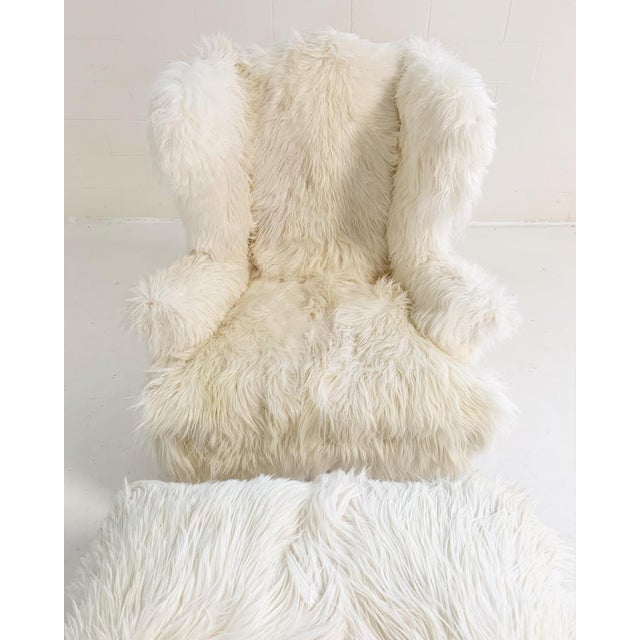 Large Wingback Chair and Ottoman in Angora Goatskin For Sale In Saint Louis - Image 6 of 9
