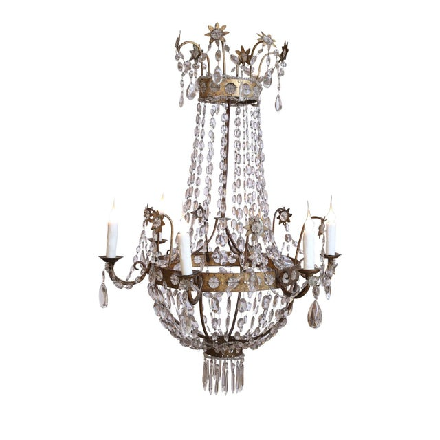 Empire 19th Century Neoclassical Gilt-Iron Chandelier For Sale - Image 3 of 13