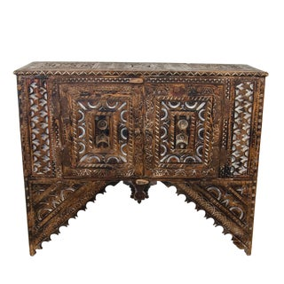 Vintage Moroccan Wooden Hand-Carved Trunk With 2 Doors For Sale