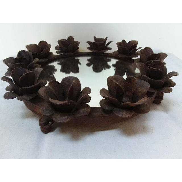 Rusted Iron & Mirror Plateau Candle Holder For Sale - Image 5 of 5