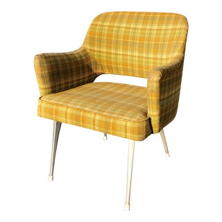 Mid Century Modern Green Plaid Tweed Armchair With Chrome Legs For Sale