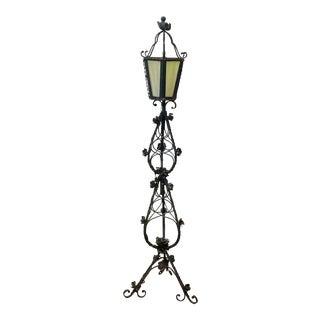Vintage Lantern Iron Floor Lamp For Sale