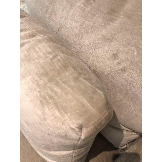 Boston showroom sample chair. Very good condition. Upholstered in Scalamandre linen velvet, Persia Linen Velvet