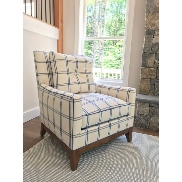 Transitional Schumacher Luberon Plaid Fabric Charles Stewart Lounge Chair For Sale - Image 3 of 3