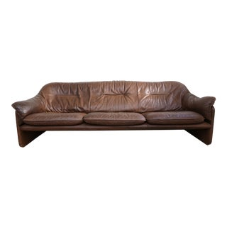 Brown Leather Three-Seater Sofa by de Sede
