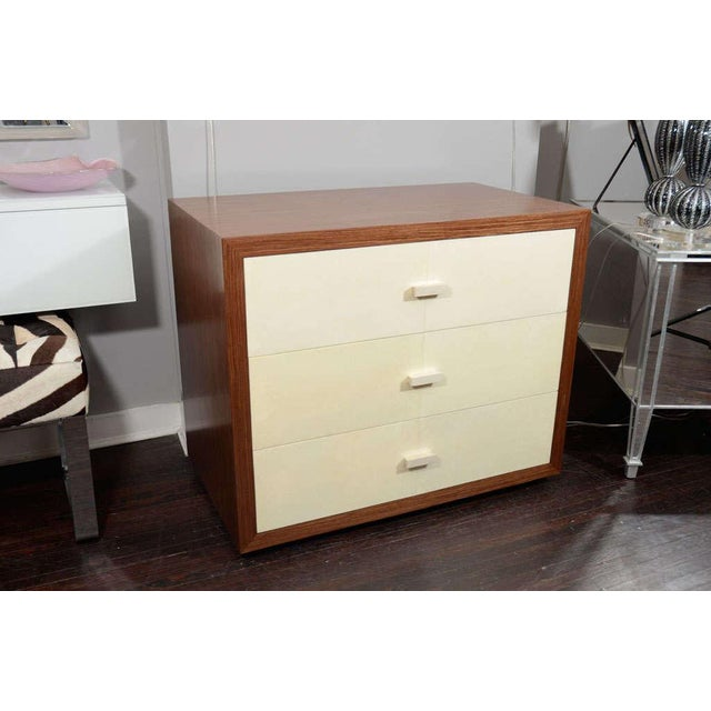 White Custom Parchment End Table with Walnut Wood Frame For Sale - Image 8 of 8