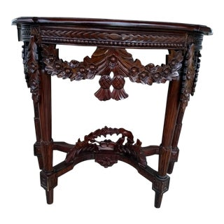 Vintage Carved Mahogany Demi Lune Table For Sale