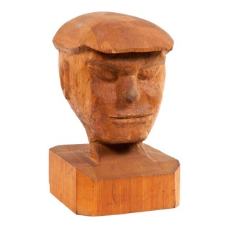 1920s Vintage Wood Bust Sculpture For Sale