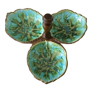 1960s Vintage Mid Century Modern Turquoise and Gold Majolica Candy / Nut Dish For Sale