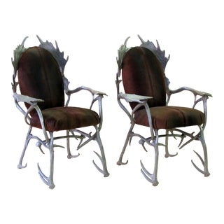 A fanciful pair of american 1970's aluminum antler arm chairs designed by Arthur Court, San Francisco (1928-2015)
