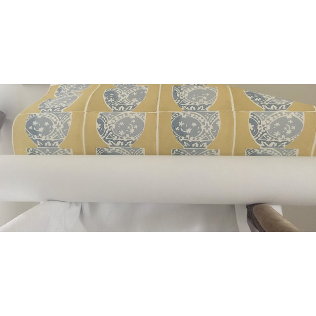 "10Y of Galbraith & Paul Hand Blocked Wallpaper Pattern: Stacked Pots Color: Fin ( Blue on Yellow) Width: 36"" (trims to..."
