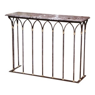 18th Century French Polished Wrought Iron & Bronze Console Table With Marble Top For Sale