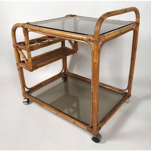 Mid 20th Century Rattan and Smoked Glass Bar Cart For Sale - Image 5 of 8