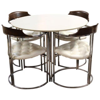 Mid-Century Modern Daystrom Chrome Wood Laminate Dinette Set For Sale