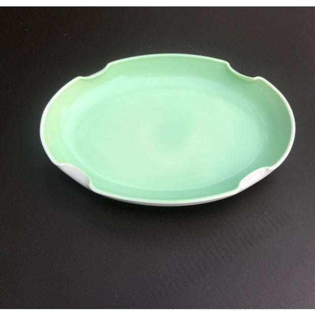 Vintage Mid-Century Mint Green Ceramic Quatrefoil Tray or Dish For Sale - Image 11 of 13