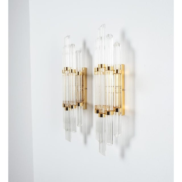 1970s Large Venini Style Murano Glass and Brass Wall Lamps Sconces, 1970 For Sale - Image 5 of 8